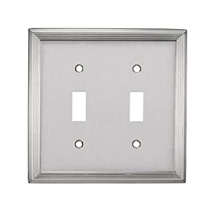 allen roth double toggle light switch plate satin nickel. Black Bedroom Furniture Sets. Home Design Ideas