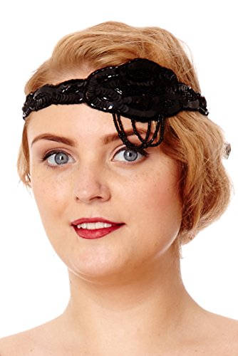 Gatsbylady Charleston 1920's Vintage Style Headband in Black (One Size)