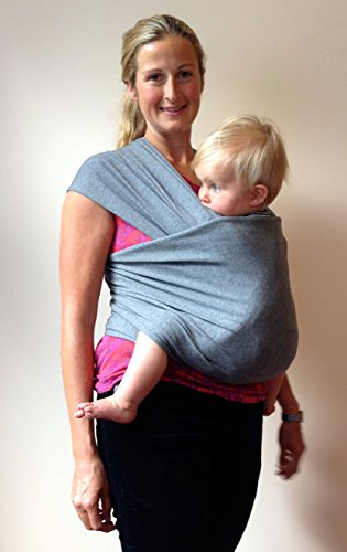 Baby Wrap Carrier In Soft Grey ~ Organic Cotton For Safe, Comfortable Baby Wearing. Free Shipping! Great For Attachment Bonding And Comforting Infants, Babies Feel More Secure So Develop Better Sleep Patterns And Reduce Stress Hormones. Great For Breastfe front-3341