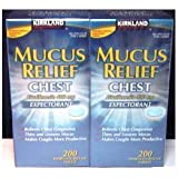 Kirkland Signature Mucus Relief Expectorant  200 Immediate Release Tablets (Pack of 2)