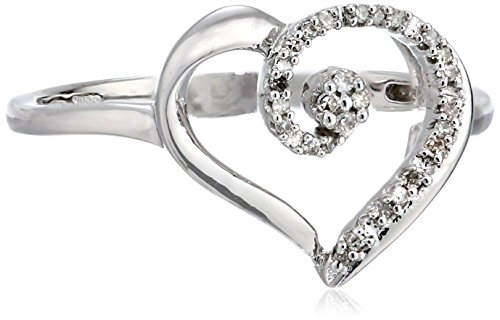 10k White Gold Diamond Heart Ring (1/20 cttw, I-J Color, I3 Clarity), Size 7