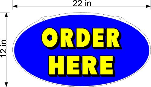 TAKE OUT RESTAURANT PICK UP AND ORDER HERE SIGNS YELLOW AND BLUE ON CLEAR OVAL PLEXIGLASS (Restaurant Order Sign compare prices)