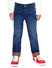 Cotton Rich Adjustable Waist Washed Look Jeans