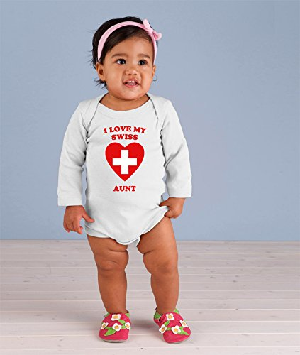 I love my SWISS Aunt Baby Long Sleeve Bodysuit One Piece White