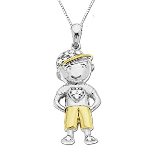 Sterling Silver and 14k Yellow Gold Little Boy with Cap and Diamond Pendant (.10cttw, I-J Color, I2-I3 Clarity), 18""