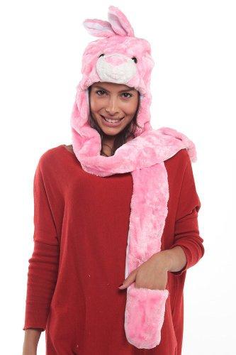 Vktech Erwachesene Kinder Mütze Hut + Schal + Handschuhe 3 in 1 (Pinkhase)