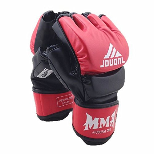 Martial arts training open finger gloves and punching gloves fist guard [WL Products] FOFG79 (red, free)