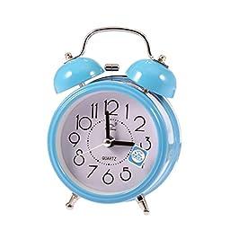 DEESEE(TM)Fashion Small Double-Bell Night Light Children Mini Quartz Alarm Clock (Blue)