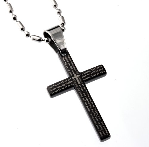 Small Black Cross 32mm (1 1/4 Inches) Length Pendant the Lord's Prayer 1662 Anglican Version, Finest Quality Stainless Steel Jewelry