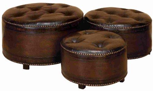 WL57993 Set/3 Dark Brown Round Leather Ottoman Footstools
