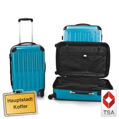Set of 3 hard shell suitcase WITH TSA LOCK glossy Aqua Blue (57L,87L, 130L) Hauptstadtkoffer incl combination lock 4 wheels by Hauptstadtkoffer
