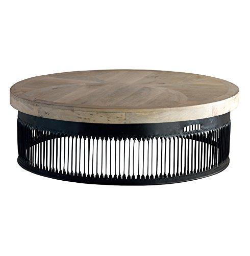 Knoll Medium Industrial Loft Chunky Wood Round Coffee Table - S