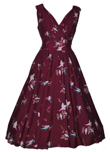 Vintage Retro Style Plum Bird Print Full Circle Swing Tea Dress