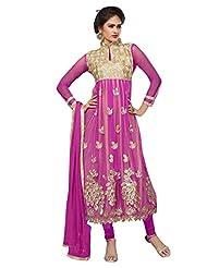 Trendz Apparels Pink Net Anarkali Suit Salwar Suit