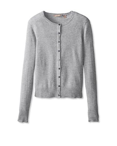 Cashmere Addiction Women's Long Sleeve Crewneck Cardigan Sweater