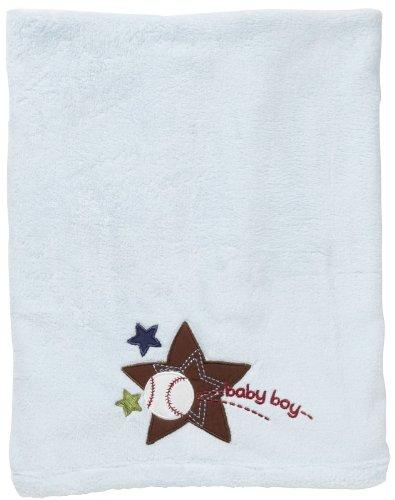 Kidsline Baby Boy Blue Sport Baseball Embroidered Boa Blanket - 1