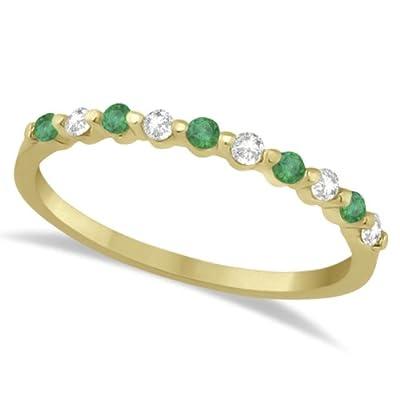 Allurez Diamond and Emerald Semi-Eternity Wedding Band 18K Yellow Gold (0.30ct)