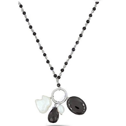 925 Sterling Silver Natural Black Onyx Fresh Water Pearl Designer Strand 21 Inches Necklace Jewelry New