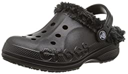 crocs Baya Plush Lined Clog (Toddler/Little Kid), Black/Black, 10/11 M US Little Kid