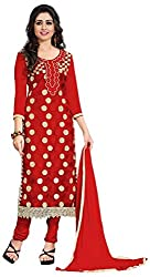 BK ENTERPRISE Women's Red Georgette And Embroidered Dresses(bk-551_freesize)