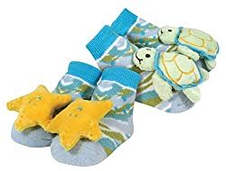 Stephan Baby Go Fish Rattle Socks, Sea Turtle and Yellow Starfish