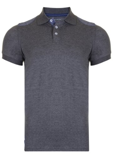 Mens Tokyo Tigers Polo Shirt With Contrast Shoulder detail. Style Name - Onneto. In Charcoal Marl Size - medium