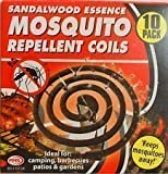 10 x Sandlewood Mosquito Coils with Essence of Sandlewood Boxed With Burning Stand - Each Coil Burns 8-9 hours approx