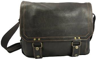 David King & Co Distressed Leather Laptop Messenger