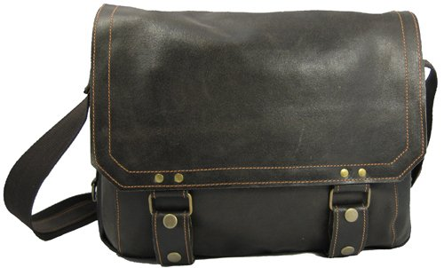 David King & Co Distressed Leather Laptop Messenger