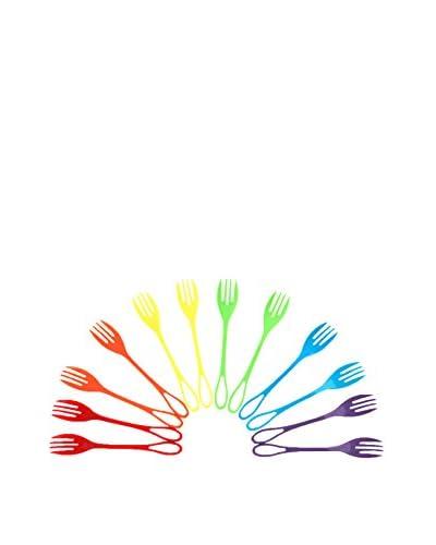 Knork 12-Piece Assorted Outdoor Plastic Fork Set, Multi