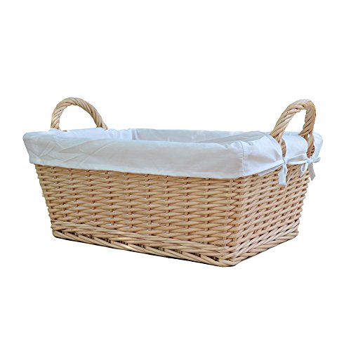 RURALITY Wicker Woven Storage basket With Liner and Handles,Large (Large Willow Basket With Handle compare prices)