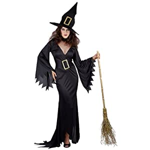 Wicked Witch Long Black Witches Fancy Dress Costume And Hat 6-24 (Women: 10-12)