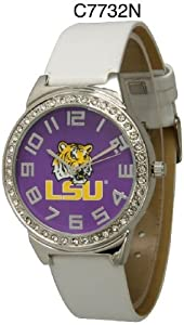 NCAA Officially Licensed LSU Tigers Large Face Watch with Rhinestone Accents by Time World