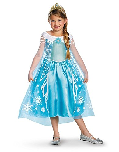 Disney Frozen Elsa Deluxe Costume and Tiara Set Sparkling Ice Blue, 10-12