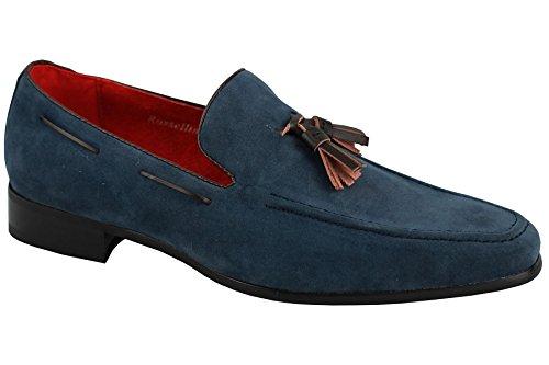 Da uomo Smart in pelle scamosciata con tacco Mocassino Slip On scarpe estate MOD, rosso (Red), 42 EU