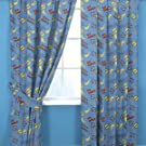 Kids/Childrens Power Rangers Blue Grid Design Curtains
