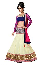 Georgette Party Wear Lehenga Choli in Cream and Blue Colour