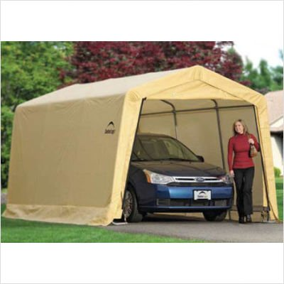 10' x 15' x 8' AutoShelter Instant Garage with 4-Rib Frame inTan Cover