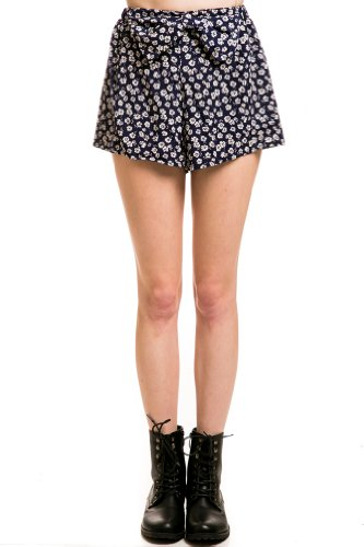 Floral Print Bow Shorts In Blue