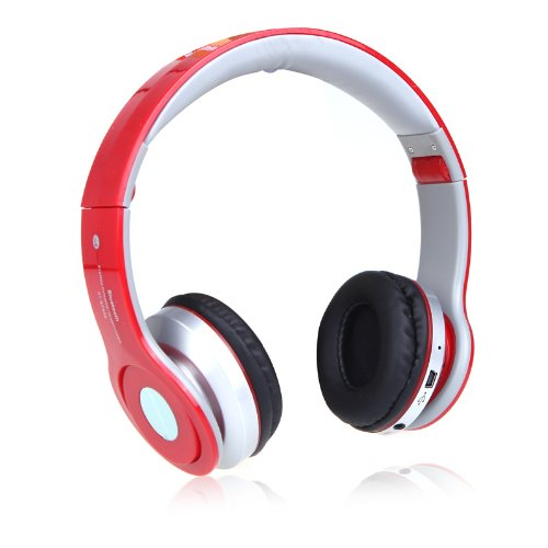 Andoer Foldable Wireless Bluetooth Stereo Headphone Headset Mic Fm Radio Tf Slot Mp3 Player Stereo Headset Combo For Iphone Ipad Pc Red Support Tf/Micro Sd Memory Card (Red)
