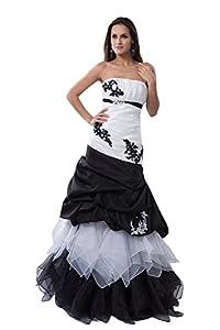 Taffeta Satin Natural Waist Beaded Appliques Brush Train Tulle Wedding Dress(18,Ivory And Black)