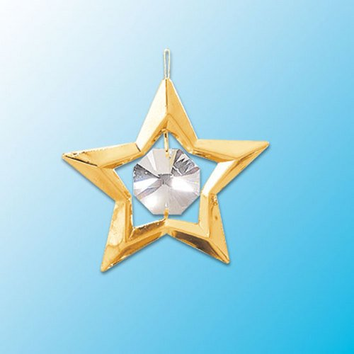 24k Gold Star Ornament – Clear Swarovski Crystal