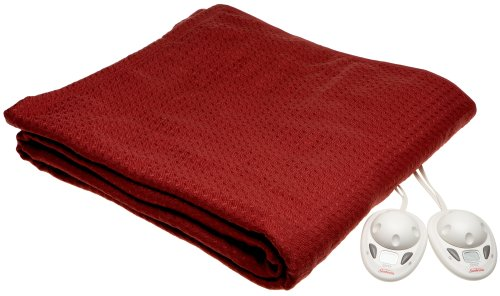 Sunbeam Royal Dreams Style Smart Digital Controller Heated Electric Blanket Twin, Cranberry