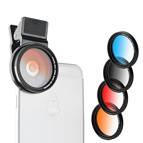 Zomei-iPhone-Graduated-Lens-Filter-37mm-Professional-4-Pieces-Camera-Lens-Filter-Kit-for-iPhone-6S-6S-Plus-Samsung-Galaxy-All-Smartphones-Graduated-BlueGrayOrangeRed