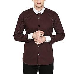 Stylox Men's Brown Cotton Shirt Brown