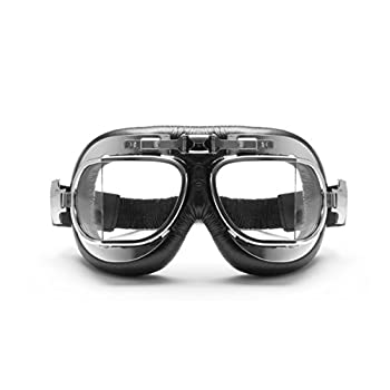 Vintage Motorcycle Goggles with Antifog and Anticrash Squared Lenses - Chrome Steel rim- by Bertoni Italy - AF193CR