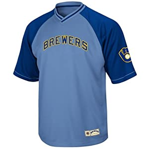 Milwaukee Brewers Majestic Cooperstwon V-Neck Full Force Jersey by Majestic