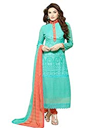 Zombom Green Georgette Embroidered Un-stitched Salwar Suit