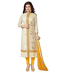 Look N Buy Women's white cotton dress material (H209_white_free size)
