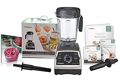 Vitamix Professional Series 750 Blender (1944) with Superfood Smoothies: 100 Delicious, Energizing & Nutrient-dense Recipes Book and Two Accelerator/Tamper Tools (Brushed Stainless Finish)